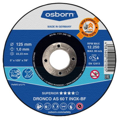 DISQUE A TRONCONNER PLAT 125X1.0X22.2 AS60T INOX 1121-240.100
