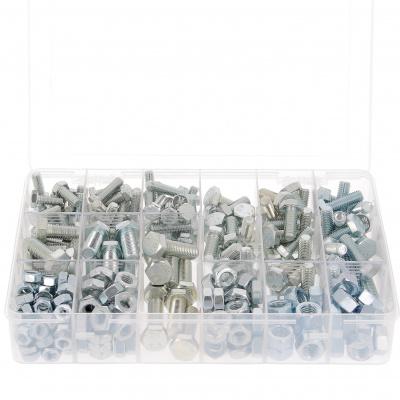 Caja de 292 CH + Tuercas M8-M10-M12 Acero 8.8 Galvanizado Blanco Din 933